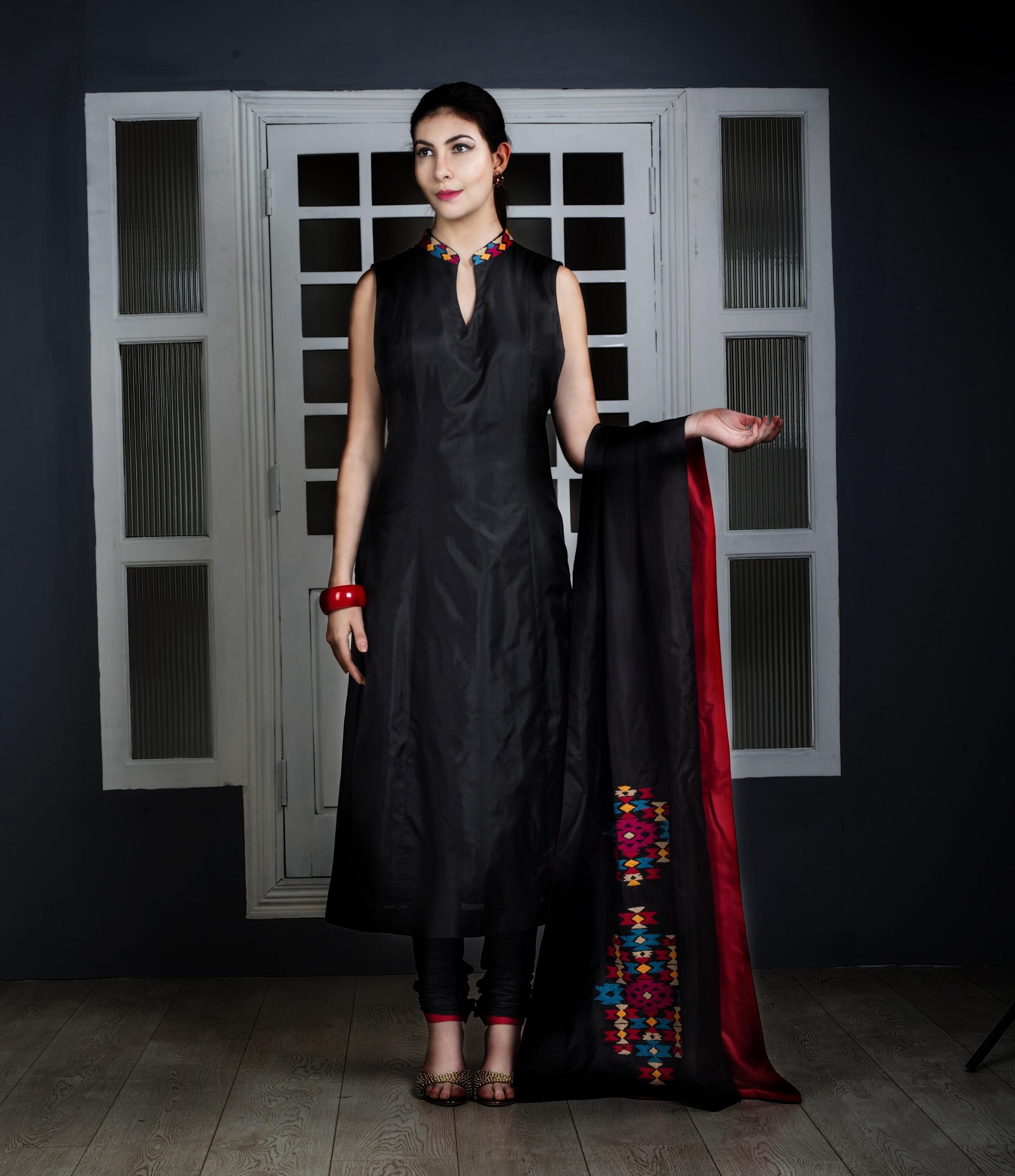 Buy Black Thread Work Pure Silk Suit Designer Suits. Shipping Worldwide. 345063fbd