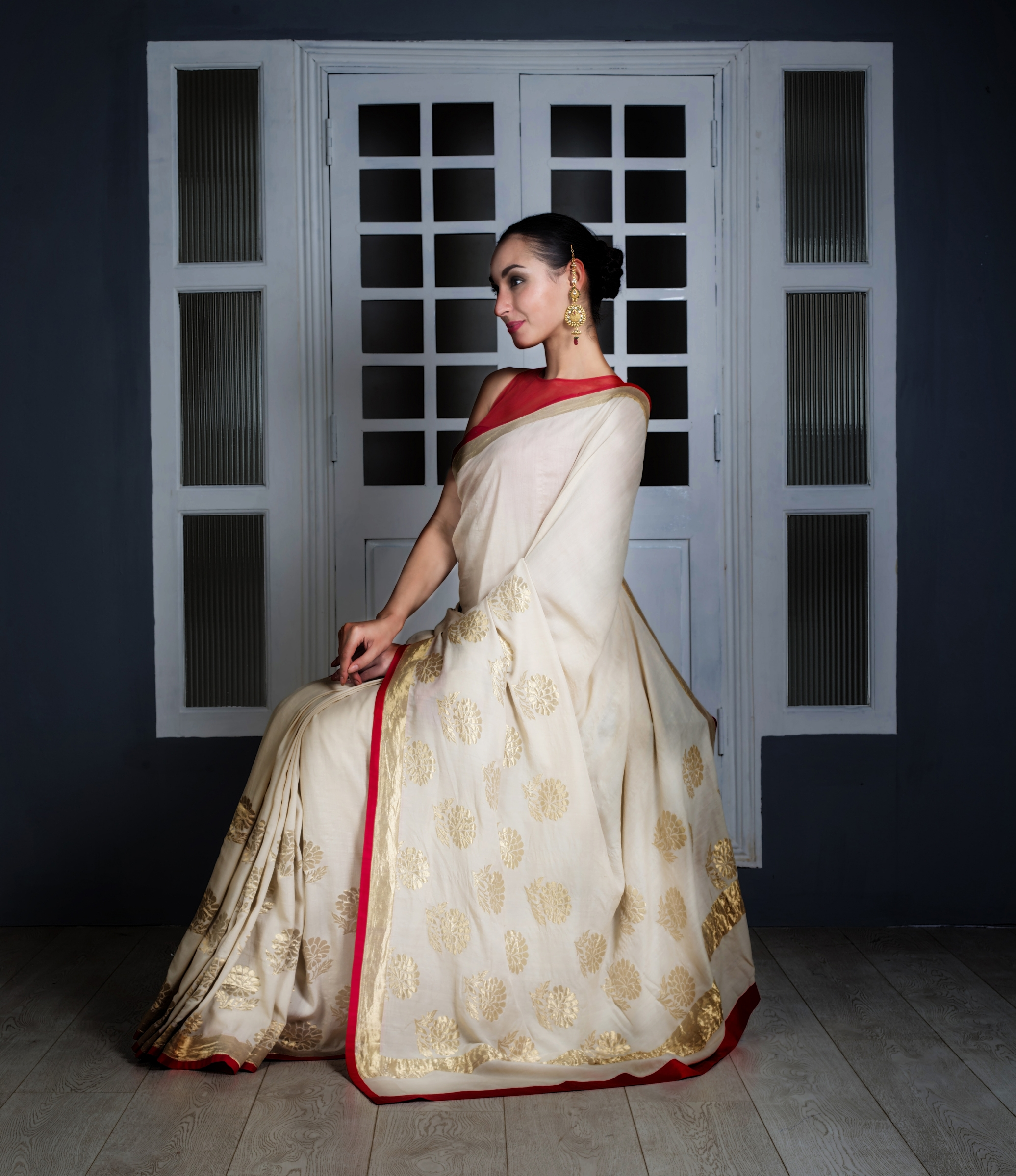 ba5a31b164 Buy Off White And Red Moonga Silk Saree Designer Sarees. Shipping Worldwide.