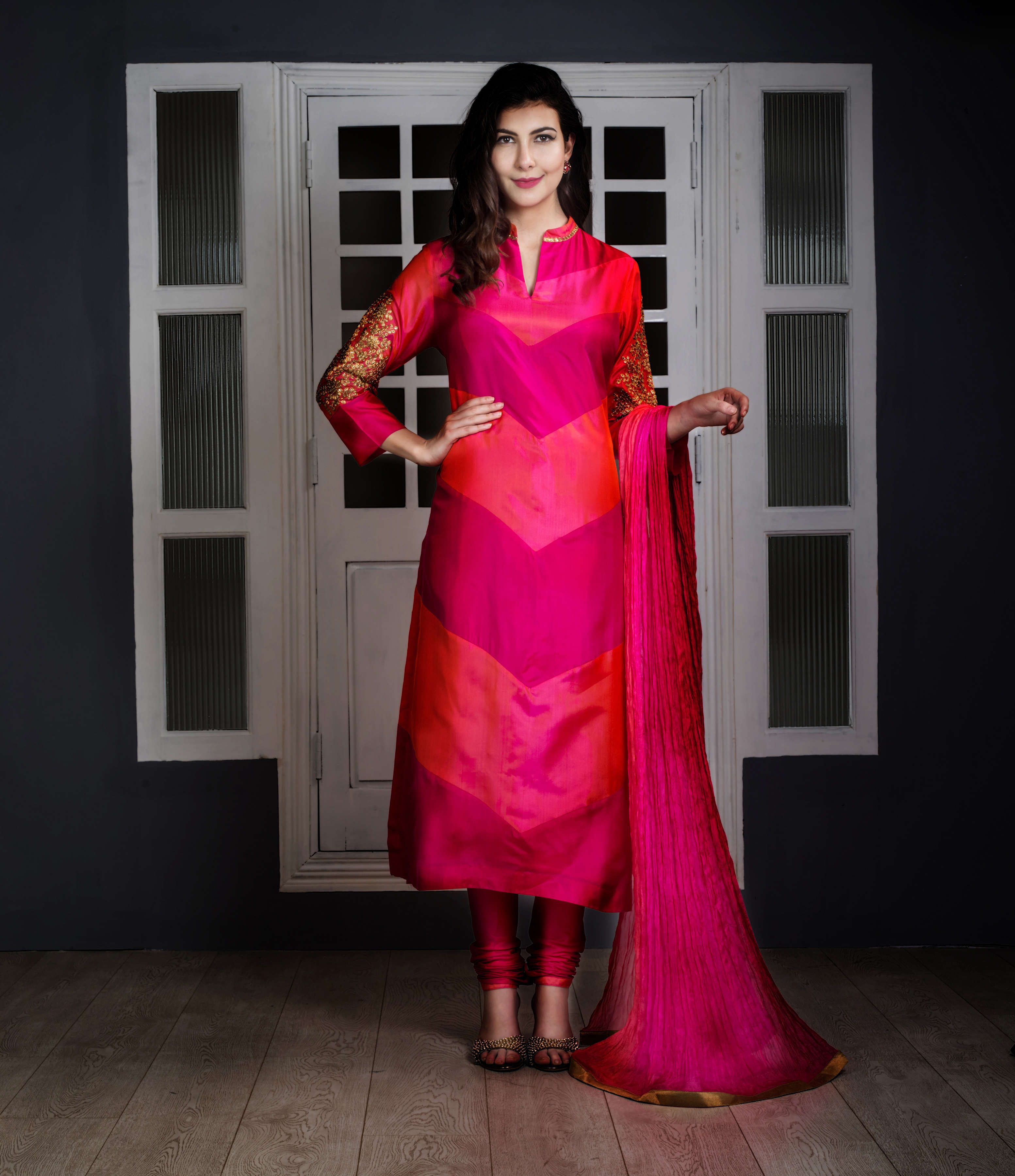 Buy Pink And Two Tone Pinkish Orange Ombre Silk Suit Designer ...