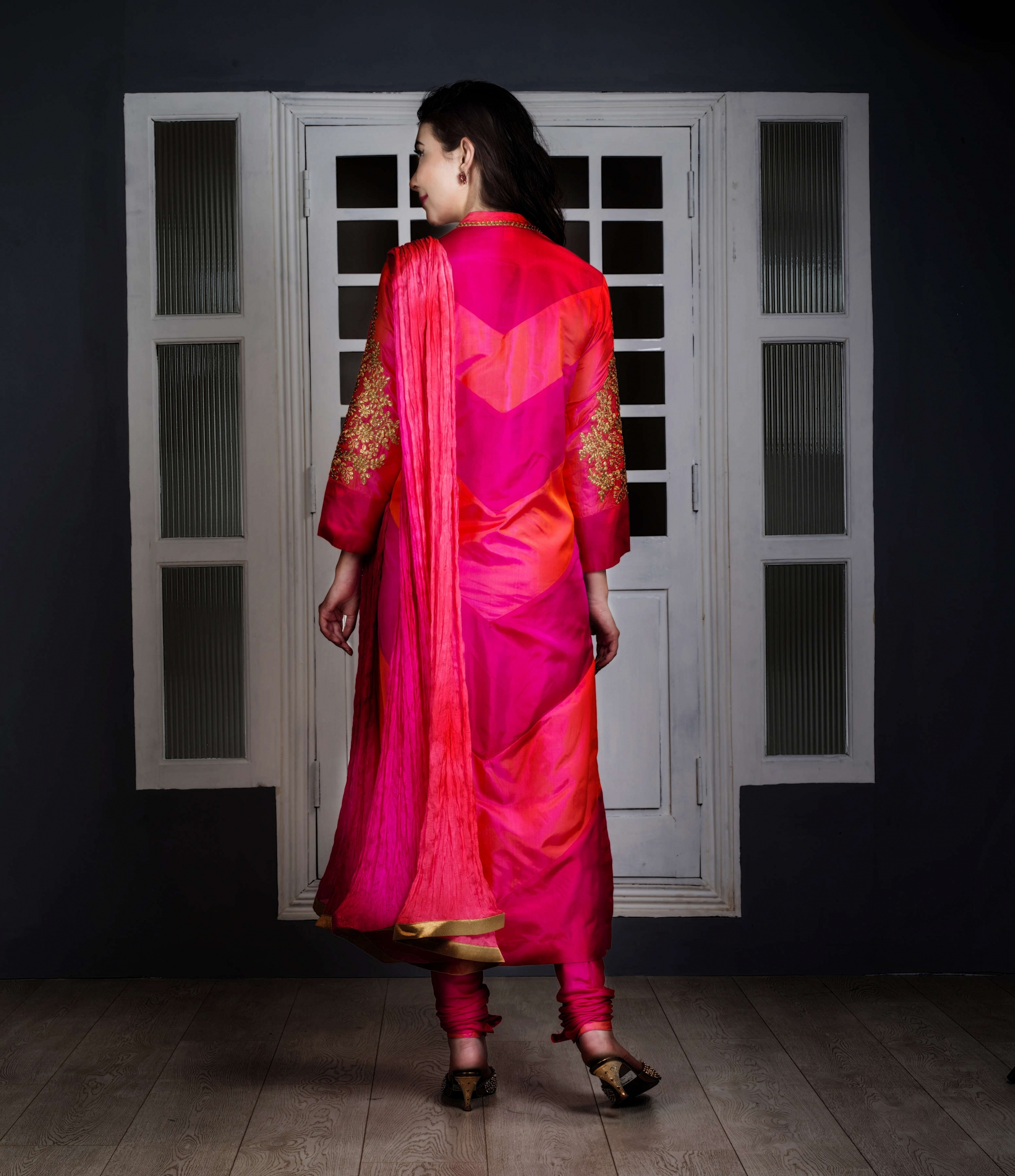 ... Suits · Straight fits · Pink and two tone pinkish orange ombre silk suit.  1 142721a7d