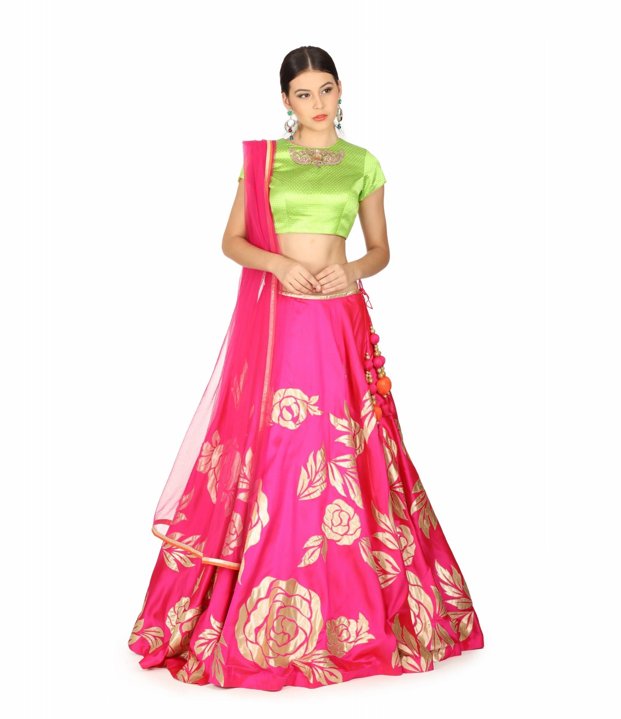 bbe97515ccc Buy Parrot Green And Pink Applique Silk Lehenga Designer Lehengas. Shipping  Worldwide.