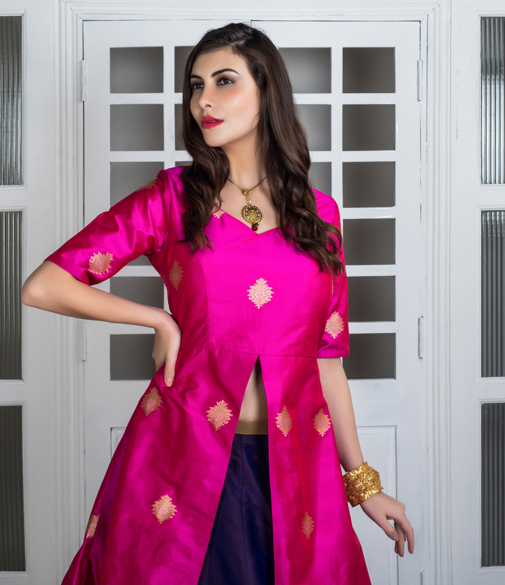 c5c2c93fa21 Buy Hot Pink And Deep Purple Long Top Silk Lehenga Designer Lehengas. Shipping  Worldwide.