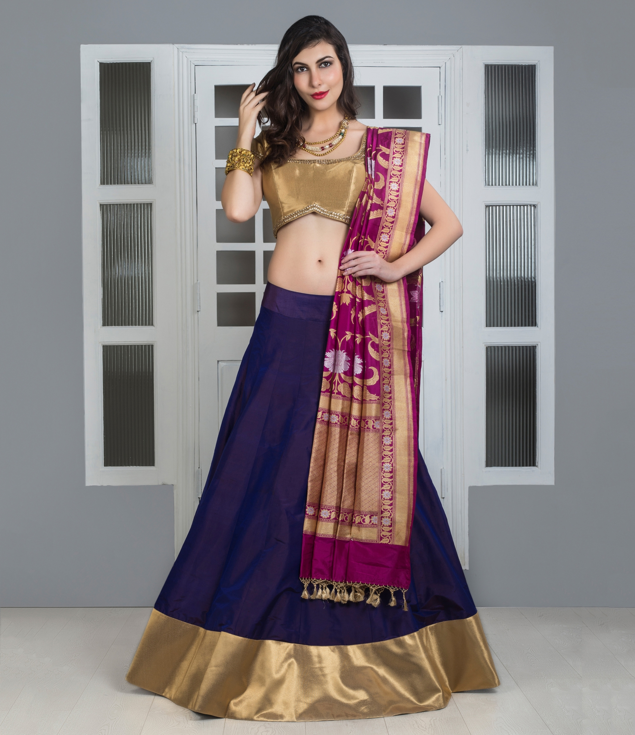 dbc8aee89de Buy Gold And Purple Pure Silk Lehenga With Banarasi Dupatta Designer  Lehengas. Shipping Worldwide.
