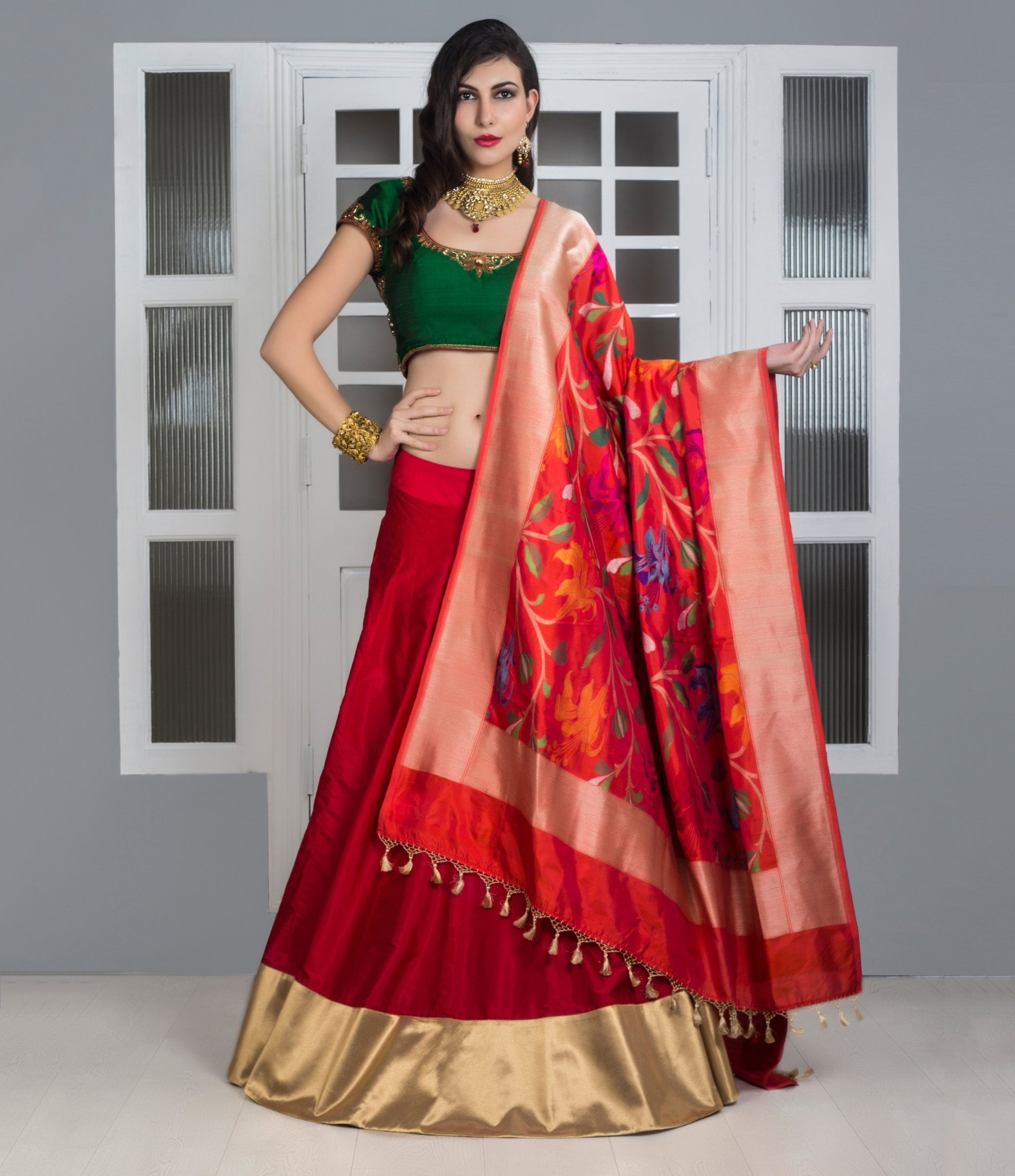 31c73a5f266 Buy Red Pure Silk Lehenga With Banarasi Dupatta Designer Lehengas. Shipping  Worldwide.
